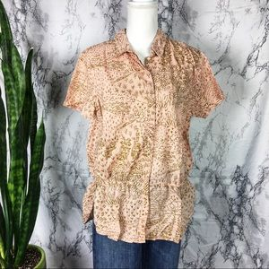 Boden pale peach pink blouse shirt sleeves top